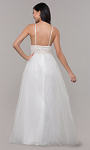 Image of long crocheted v-neck prom dress by PromGirl. Style: LP-PL-27892 Detail Image 5