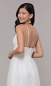 Image of long crocheted v-neck prom dress by PromGirl. Style: LP-PL-27892 Detail Image 7
