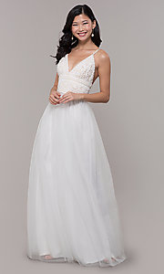 Image of long crocheted v-neck prom dress by PromGirl. Style: LP-PL-27892 Detail Image 3
