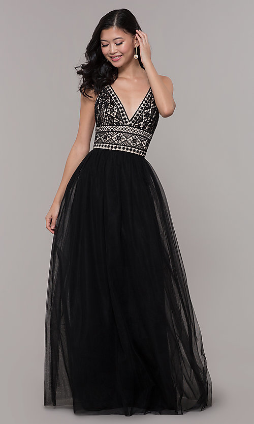 Image of long crocheted v-neck prom dress by PromGirl. Style: LP-PL-27892 Front Image