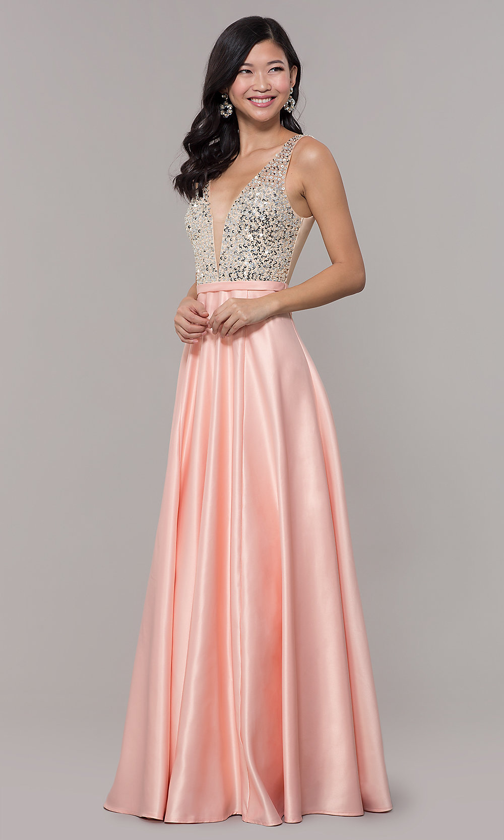 Satin V-Neck Long Prom Dress with Sequins - PromGirl