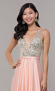 Image of sequin-bodice v-neck long prom dress by PromGirl. Style: LP-PL-25772 Detail Image 1