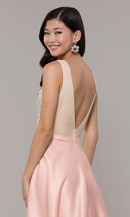 Image of sequin-bodice v-neck long prom dress by PromGirl. Style: LP-PL-25772 Detail Image 2