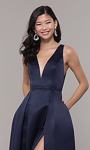 Image of long v-neck navy satin prom dress by PromGirl. Style: LP-PL-26108 Detail Image 1