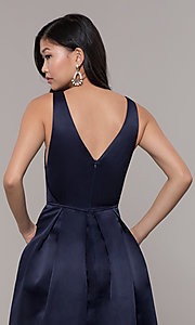 Image of long v-neck navy satin prom dress by PromGirl. Style: LP-PL-26108 Detail Image 2