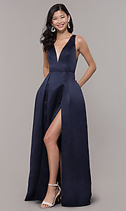 Image of long v-neck navy satin prom dress by PromGirl. Style: LP-PL-26108 Detail Image 3