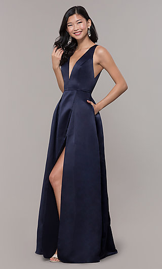 Long V-Neck Navy Satin Prom Dress by PromGirl