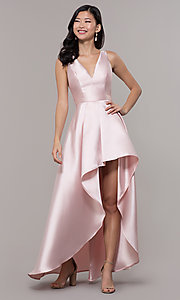 Image of satin v-neck high-low prom dress by PromGirl. Style: LP-PL-27931 Detail Image 2