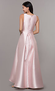 Image of satin v-neck high-low prom dress by PromGirl. Style: LP-PL-27931 Detail Image 3