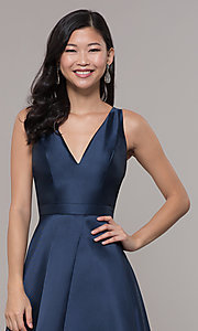 Image of satin v-neck high-low prom dress by PromGirl. Style: LP-PL-27931 Detail Image 6