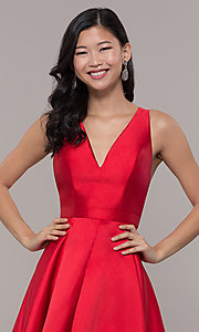 Image of satin v-neck high-low prom dress by PromGirl. Style: LP-PL-27931 Detail Image 1