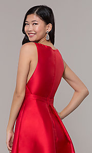 Image of satin v-neck high-low prom dress by PromGirl. Style: LP-PL-27931 Detail Image 5