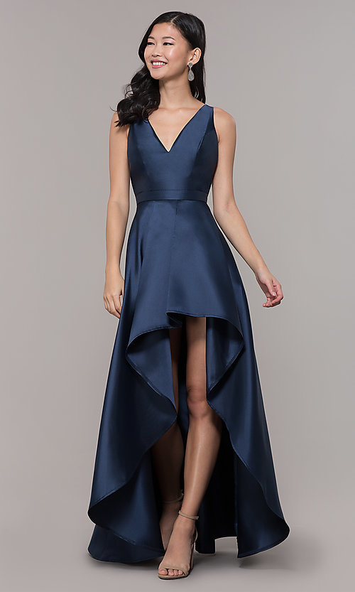 Image of satin v-neck high-low prom dress by PromGirl. Style: LP-PL-27931 Detail Image 4