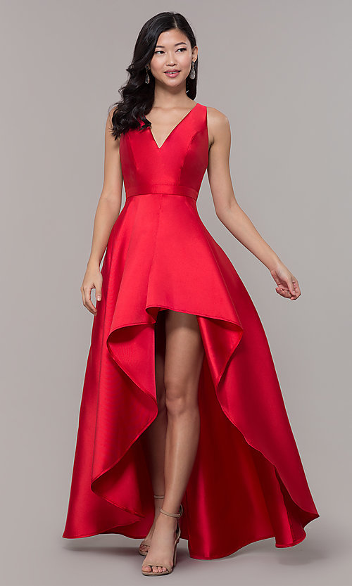 Image of satin v-neck high-low prom dress by PromGirl. Style: LP-PL-27931 Front Image