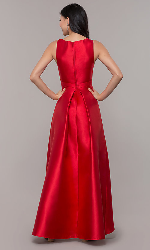 Image of satin v-neck high-low prom dress by PromGirl. Style: LP-PL-27931 Back Image