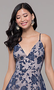 Image of v-neck long glitter-print prom dress by PromGirl. Style: LP-PL-27509-1 Detail Image 1