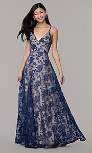 Image of v-neck long glitter-print prom dress by PromGirl. Style: LP-PL-27509-1 Front Image