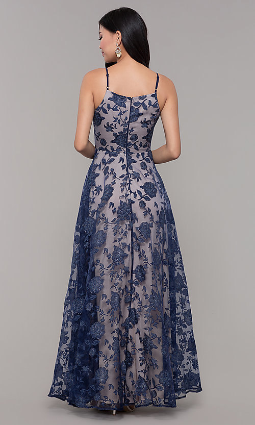 Image of v-neck long glitter-print prom dress by PromGirl. Style: LP-PL-27509-1 Back Image