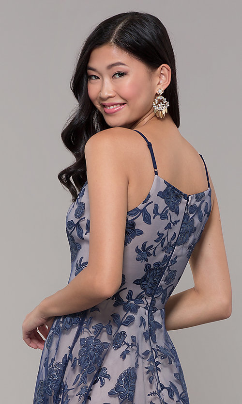Image of v-neck long glitter-print prom dress by PromGirl. Style: LP-PL-27509-1 Detail Image 2