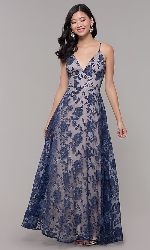 Image of v-neck long glitter-print prom dress by PromGirl. Style: LP-PL-27509-1 Detail Image 3