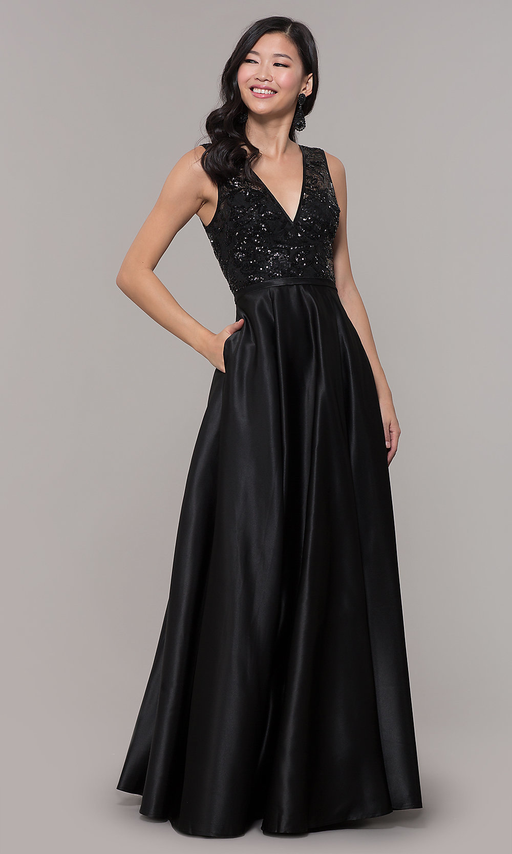 Long Black Sequin-Bodice Prom Dress