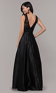 Image of sequin-bodice long black prom dress by PromGirl. Style: LP-PL-26127 Back Image