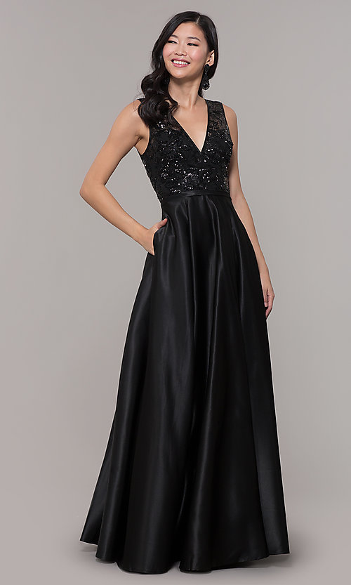 Image of sequin-bodice long black prom dress by PromGirl. Style: LP-PL-26127 Front Image