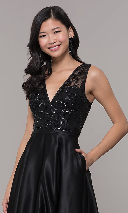 Image of sequin-bodice long black prom dress by PromGirl. Style: LP-PL-26127 Detail Image 1