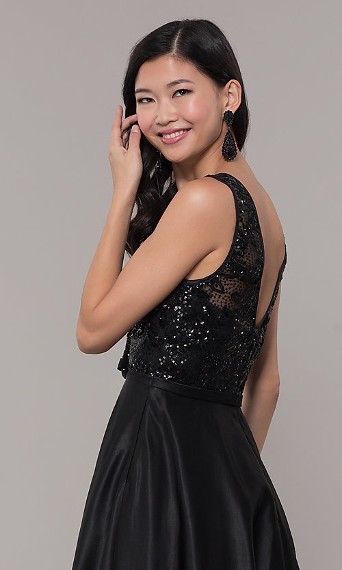 Image of sequin-bodice long black prom dress by PromGirl. Style: LP-PL-26127 Detail Image 2