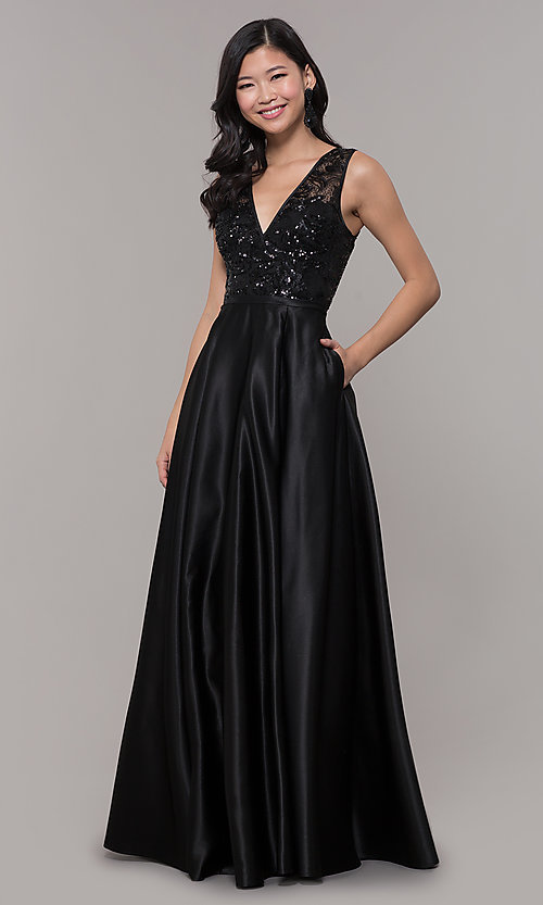 Image of sequin-bodice long black prom dress by PromGirl. Style: LP-PL-26127 Detail Image 3
