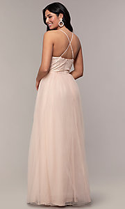 Image of lace-bodice long v-neck prom dress by PromGirl. Style: LP-PL-25769 Back Image