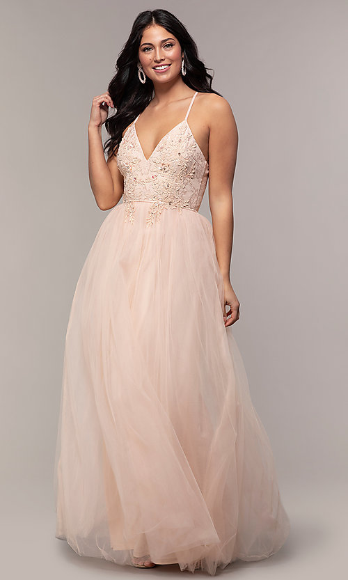 Image of lace-bodice long v-neck prom dress by PromGirl. Style: LP-PL-25769 Front Image