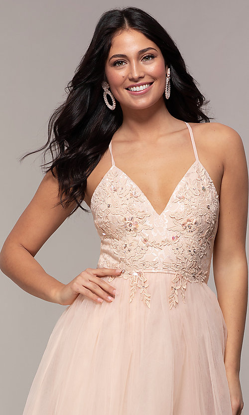 Image of lace-bodice long v-neck prom dress by PromGirl. Style: LP-PL-25769 Detail Image 1