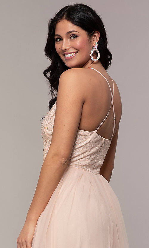 Image of lace-bodice long v-neck prom dress by PromGirl. Style: LP-PL-25769 Detail Image 2