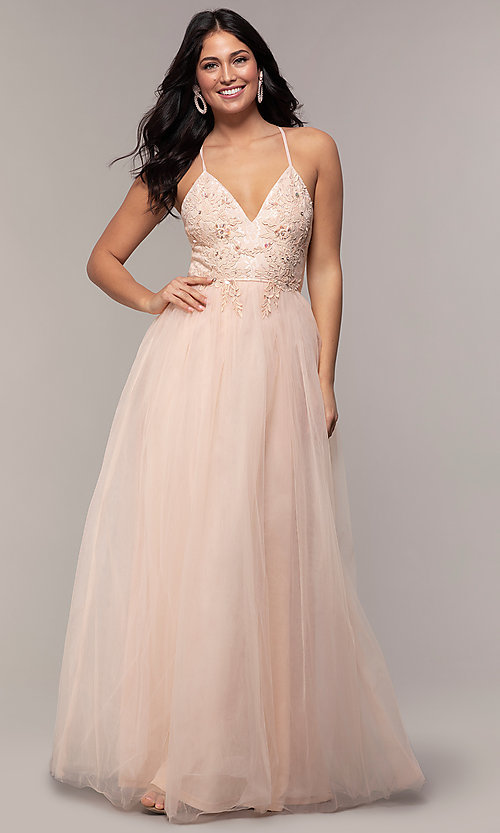 Image of lace-bodice long v-neck prom dress by PromGirl. Style: LP-PL-25769 Detail Image 3