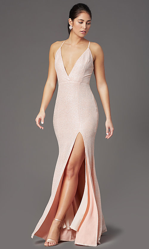 Image of fitted long glitter v-neck prom dress by PromGirl. Style: LP-PL-26116 Front Image