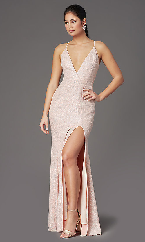 Image of fitted long glitter v-neck prom dress by PromGirl. Style: LP-PL-26116 Detail Image 2