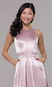 Image of long high-neck satin prom dress by PromGirl. Style: LP-PL-27080-1 Detail Image 1