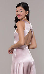 Image of long high-neck satin prom dress by PromGirl. Style: LP-PL-27080-1 Detail Image 2