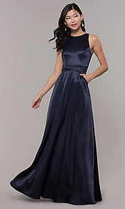 Image of long high-neck satin prom dress by PromGirl. Style: LP-PL-27080-1 Detail Image 4