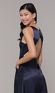 Image of long high-neck satin prom dress by PromGirl. Style: LP-PL-27080-1 Detail Image 7