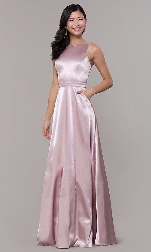 Image of long high-neck satin prom dress by PromGirl. Style: LP-PL-27080-1 Front Image