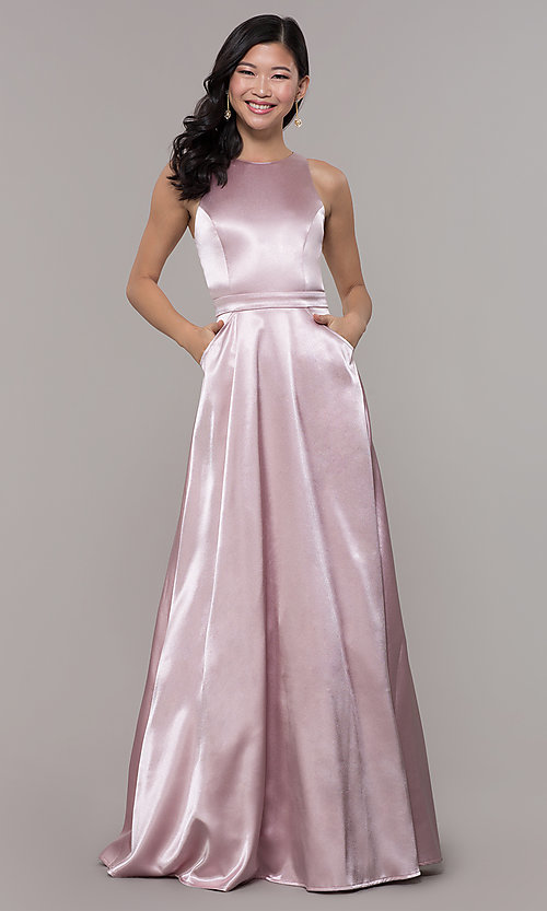 Image of long high-neck satin prom dress by PromGirl. Style: LP-PL-27080-1 Detail Image 3