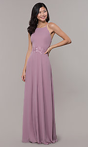 Image of long high-neck chiffon prom dress by PromGirl. Style: LP-PL-26115 Detail Image 4
