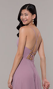 Image of long high-neck chiffon prom dress by PromGirl. Style: LP-PL-26115 Detail Image 7