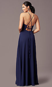 Image of long high-neck chiffon prom dress by PromGirl. Style: LP-PL-26115 Back Image