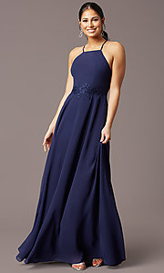Image of long high-neck chiffon prom dress by PromGirl. Style: LP-PL-26115 Detail Image 2