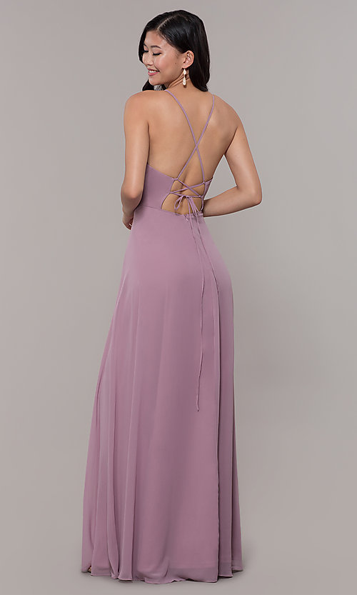 Image of long high-neck chiffon prom dress by PromGirl. Style: LP-PL-26115 Detail Image 5