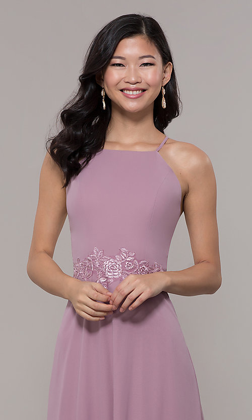 Image of long high-neck chiffon prom dress by PromGirl. Style: LP-PL-26115 Detail Image 6