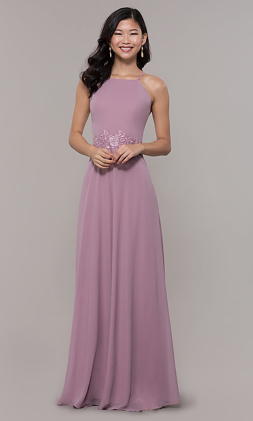 Image of long high-neck chiffon prom dress by PromGirl. Style: LP-PL-26115 Detail Image 8